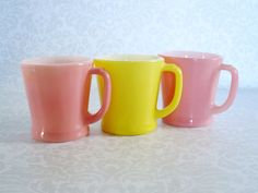 Fire King D Handle Mugs Pink & Yellow  /  3 by SwirlingOrange11