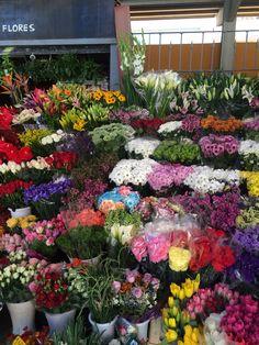 En el mercado, hay muchas flores bonitas. Hay flores amarillas, flores azules, y flores rojas.