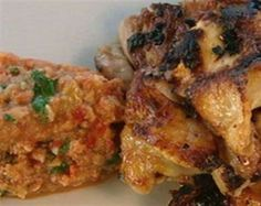 Chicken with Tomato and Almond Salsa.