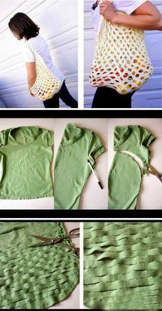 Grace y todo en Crochet: RAPIDA BOLSA CON T-SHIRT..     QUICK BAG T-SHIRT ....