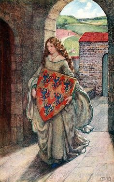 Eleanor Fortescue-Brickdale Idylls of the King by Alfred Lord Tennyson London: Hodder Stoughton ~ 1913 Illustration for Elaine Then to her tower she climb'd, and took the shield, There kept it, and so lived in fantasy. Images Esthétiques, Portrait Photos, The Lady Of Shalott, King Arthur Legend, Roi Arthur, Art Ancien, Pre Raphaelite, Medieval Art, Medieval Dress