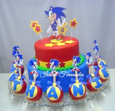 Sonic Fake Cake and Apples covered with chocolate and fondant
