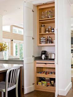 Turn a small stretch of wall into a hardworking breakfast station! Find more pantry ideas here: http://www.bhg.com/kitchen/storage/pantry/walk-in-pantry-cabinet-ideas/?socsrc=bhgpin032215slimsupply&page=2