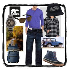 """Kick Up the Leaves (Stylishly) With SOREL: CONTEST ENTRY"" by judyrstinson on Polyvore featuring SOREL, Burnside, Saddlebred, Hollister Co., Steve Madden, Wrangler, Blue & Cream, RVCA, BKE and men's fashion"
