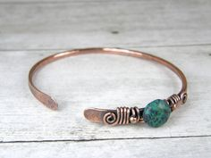 Green Stone & Copper Wire Bangle Antiqued Copper by BonzerBeads