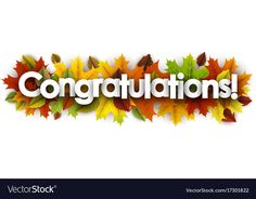 Autumn congratulations banner with leaves vector image on VectorStock Congratulations Promotion, Congratulations Quotes, Graduation Greetings, Graduation Gifts, Maira Khan, Independence Day Background, Lord Shiva Hd Wallpaper, Fall Banner, Fall Images
