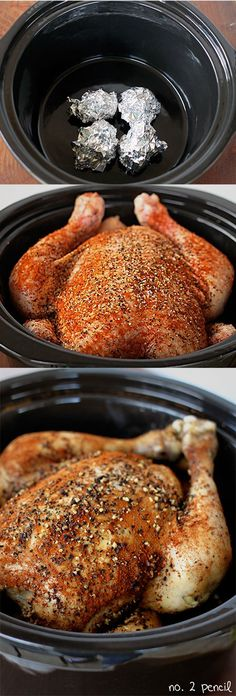 Slow Cooker Chicken - Easy and delicious! One of my favorite ways to make a whole chicken is in my slow cooker. Slow Cooker Chicken is so easy to throw together, and at dinner time you have a lovely whole chicken to eat or shred and use in another recipe Crock Pot Recipes, Crockpot Dishes, Crock Pot Slow Cooker, Crock Pot Cooking, Cooking Recipes, Cooking Tips, Crockpot Meals, Crock Pots, Healthy Recipes