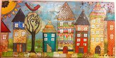 Mixed media canvas House Village FREE by heartfeltByRobin Mixed Media Painting, Mixed Media Collage, Mixed Media Canvas, Collage Art, Hand Painted Canvas, Canvas Art, Kitsch, Button Art, Elementary Art