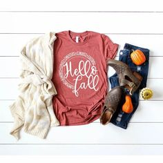 Hello Fall Favorite Things Autumn Ladies Shirt Black Friday Shirts, Design Floral, Fall Shirts, Hello Autumn, Halloween Shirt, Fall Halloween, Teacher Shirts, Colorful Shirts, Graphic Tees