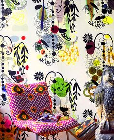 Karen Combs's exquisitely funky wallpaper designs. Forget about papering your wall (you can't afford it). Get a sheet and frame it.