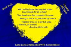 Personlized encouragement for Cheerleading competition..