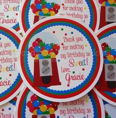 Set of 12 Personalized Favor Tags -Gumball -Thank You Tag -Gift Tag -Baby Shower -Birthday-Sticker    ♥ Welcome: Please read shop policies