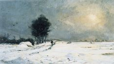 The Athenaeum - Snow Scene at Valmondois (Charles-François Daubigny - )