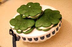Green Velvet Shamrock Whoopie Pies with Classic Vanilla Filling.