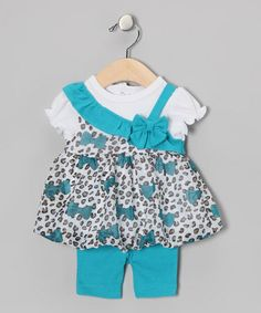 Take a look at this Turquoise Leopard Bow Dress & Capri Pants by Baby Essentials on #zulily today!