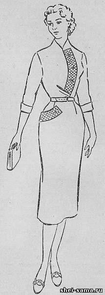 Платье с фигурной планкой на правой полочке - Сто фасонов женского платья - Всё о шитье
