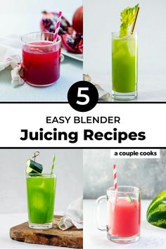 Here are the best easy juicing recipes using fresh fruits and vegetables: no juicer required! Whip up these healthy drinks in a blender.   juice recipes   blender juice recipes   celery juice   cucumber juice   carrot juice recipe   watermelon juice   pomegranate juice   #juice #juicingrecipes #juicing #juicerecipes Best Juicing Recipes, Healthy Juice Recipes, Quick Healthy Meals, Healthy Fruits, Healthy Drinks, Quick Recipes, Summer Recipes, Cucumber Juice, Citrus Juice