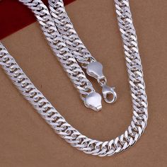 925-sterling-silver necklace long  fashion 925 sterling silver jewelry 10 mm link chain necklace for men