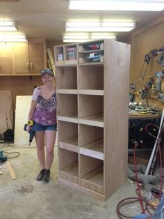 DIY Freestanding Pantry with Pullout Drawers #TutorialTuesday - I'd put books, CDs, DVDs and VHS tapes in here. I think it could fit all of them. Maybe.