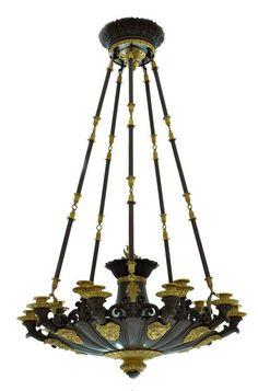 Lustre Empire  Masques de satyres   Travail français, époque Restauration Bronze doré et patiné H : 123 cm ; D : 70 cm - Galerie Lumières GL00118