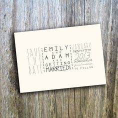 Printable Wedding Save The Date Card // Vintage, Casual, Simple // Custom, DIY