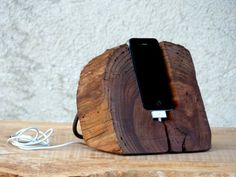 Wooden iPhone Docking Station. Rustic  iPhone Stand. Wooden iPhone Charging Station. Eco-friendly. on Etsy, 538,46 kr
