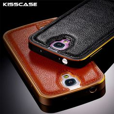 KISSCASE Luxury New Hybrid Leather Back Case For Samsung Galaxy S4 I9500 S5 I9600 S6 G9200 Slim Aluminum Frame Phone Cover S5 S6