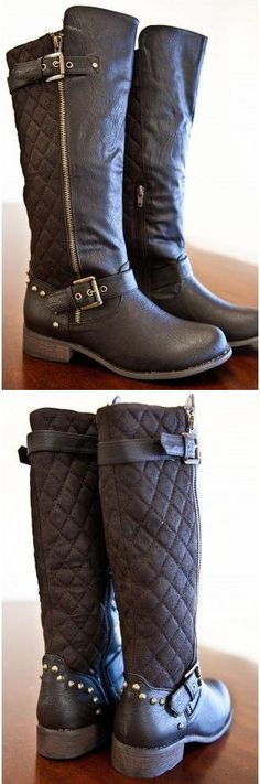 Dark Brown Quilted Boots #fashion #boots #shoes