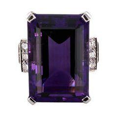 Amethyst Diamond Platinum Cocktail Ring