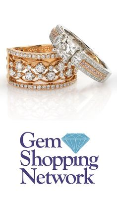 Stacked diamond band ring in white gold and rose gold! The statement rings are a staple of any fall outfit! Add some sparkle with gemstones and see more at Gem Shopping Network any time of day.