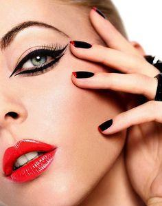 Winged Eyeliner - Red Lips - French Manucure - Make-Up Look #makeup, #maquillage, #makeover, #pinsland, https://apps.facebook.com/yangutu