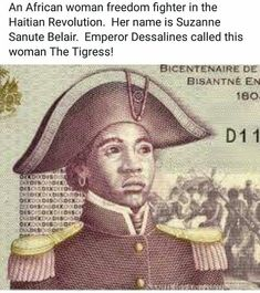 Day 4 of 'Hidden Figures' brings us Sanité Bélair, also known as 'The Tigress of Haiti.' Originally born as Suzanne, Sanité later changed her name and served. Women In History, Black History, Haiti History, Afro, Haitian Revolution, Haiti Flag, Hidden Figures, National Symbols, Freedom Fighters