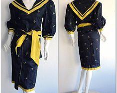Vintage Navy Blue Rockabilly Dress / Silk Bow Sailor Dress W/ Nautical Theme / Mad Men Henri Bendel Royal Blue Full Skirt Dress African Fashion Dresses, African Dress, Silk Dress, Rockabilly, Sailor, 1950s, High Waisted Skirt, Navy Blue, Bow