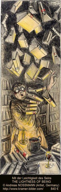 Mit der Leichtigkeit des Seins / THE LIGHTNESS OF BEING © Andreas NOSSMANN (Artist, Germany). 840 € ... ... Library, Man, Monk, Books, Floating Away.