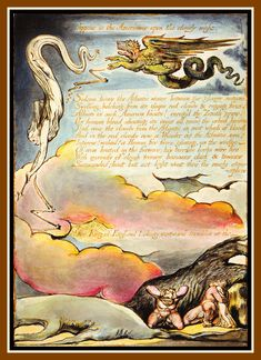 William Blake: 'America a Prophecy', object 6 (Bentley Erdman Keynes copy O, Relief and white-line etching with rich hand coloring on paper. William Blake Poems, Gcse Art Sketchbook, English Poets, Image Comics, Hand Coloring, Painting Frames, Great Artists, Art Museum, Contemporary Art