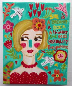 Folk Art Girl Potrait  Painting on Canvas by evesjulia12 on Etsy
