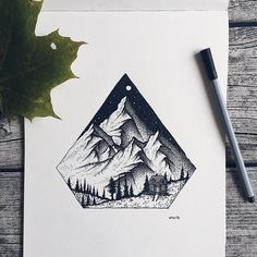 Post with 5961 votes and 185249 views. Tagged with art, animals, tattoodesign, imadethat, pleasedontstealmyshit; Shared by wildwither. More of my art! Mountain Drawing, Mountain Tattoo, Small Drawings, Cool Drawings, Stippling Art, Geometric Nature, Nature Drawing, Ink Illustrations, Illustration Art