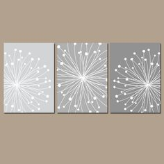 DANDELION Wall Art, CANVAS or Prints Gray Ombre Bedroom Pictures, Bathroom Artwork, Bedroom Pictures, Flower Dandelion Set of 3 Home Decor