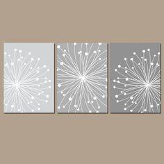 DANDELION Wall Art, CANVAS or Prints Gray Ombre Bedroom Pictures, Bathroom Artwork, Bedroom Pictures, Flower Dandelion Set of 3 Home Decor