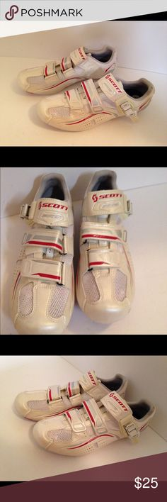 Scott Cycling shoe white size 7 1/2 Scott pro cycling shoe white and red size 7 1/2 Athletic footwear for cycling and skiing slightly narrow preowned item S 31 scott Shoes Athletic Shoes