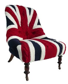Hand knitted 'upholstery' - perhaps I could start one of these at my Hookers and Needlers Group!