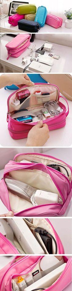 US$9.22 Waterproof Nylon Travel Storage Bag_Digital Accessories Hanging Bag #ustraveltips