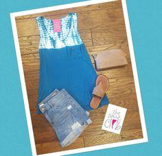 It's getting hot in here .....  Tie Dye Tank $45 Denim Shorts $45 Bernardo Shoes Monica Sandal $135 Nude Clutch $40 ☎️ 210-824-9988
