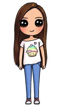 Kawaii Girl Drawings, Cute Animal Drawings Kawaii, Cute Little Drawings, Cute Cartoon Drawings, Cute Easy Drawings, Cute Girl Drawing, Cartoon Girl Drawing, Girl Cartoon, Unicorn Drawing