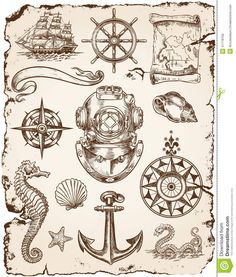 nautical+illustrations | Vector set of various nautical illustrations.