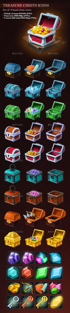 Treasure Chest Icons Download here: https://graphicriver.net/item/treasure-chest-icons/19734575?ref=KlitVogli