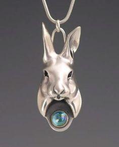 Brooke Stone Jewelry, Silver Stylized Rabbit with Rainbow Topaz