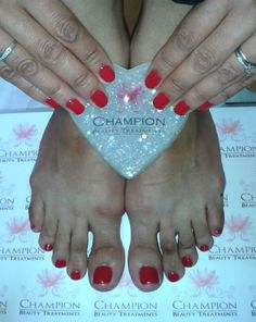 Gorgeous matching hands and toes complete with CND Shellac 'Wildfire' nail polish.