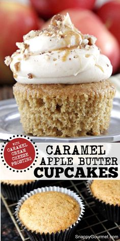 Caramel Apple Butter Cupcakes - spruced up cake mix with apple butter and cider topped with a quick and easy caramel cream cheese frosting. The best! Great for fall, Halloween, and parties! Recipe @SnappyGourmet.com #SnappyGourmet #Fall #Baking #apple #Cupcakes Caramel Recipes, Apple Recipes, Pumpkin Recipes, Baking Recipes, Butter Cupcake Recipe, Butter Cupcakes, Apple Cupcakes, Frosting Recipes, Cupcake Recipes