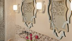The flanking wall sconces from Kichler's collection cast an even light over your features while the mirror's unique shape and line bring a touch of flair to this modern yet comfortable bath. Vanity Lighting, Bathroom Lighting, Choosing Light Bulbs, Wall Sconces, Mirrors, Bath Vanities, One Light, Style Guides, Eileen Gray